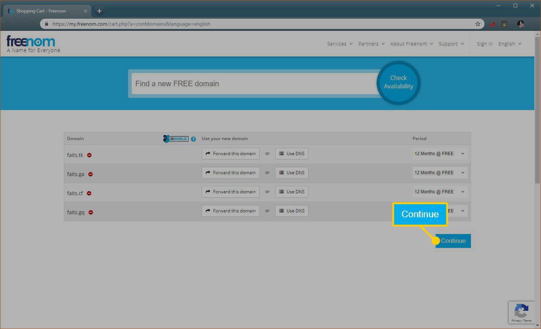 A screenshot of the Freenom domain registration process.