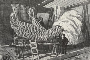 Construction work for Statue of Liberty, designed by Frederic Auguste Bartholdi, in Paris, France, engraving from LIllustration, Journal Universel, No 2076, Volume LXXX, December 9, 1882