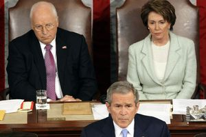 Speaker of the House Nancy Pelosi sitting next to Vice President Dick Cheney while President George W. Bush addresses Congress.