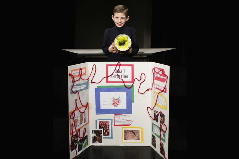 Boy presenting project at science fair