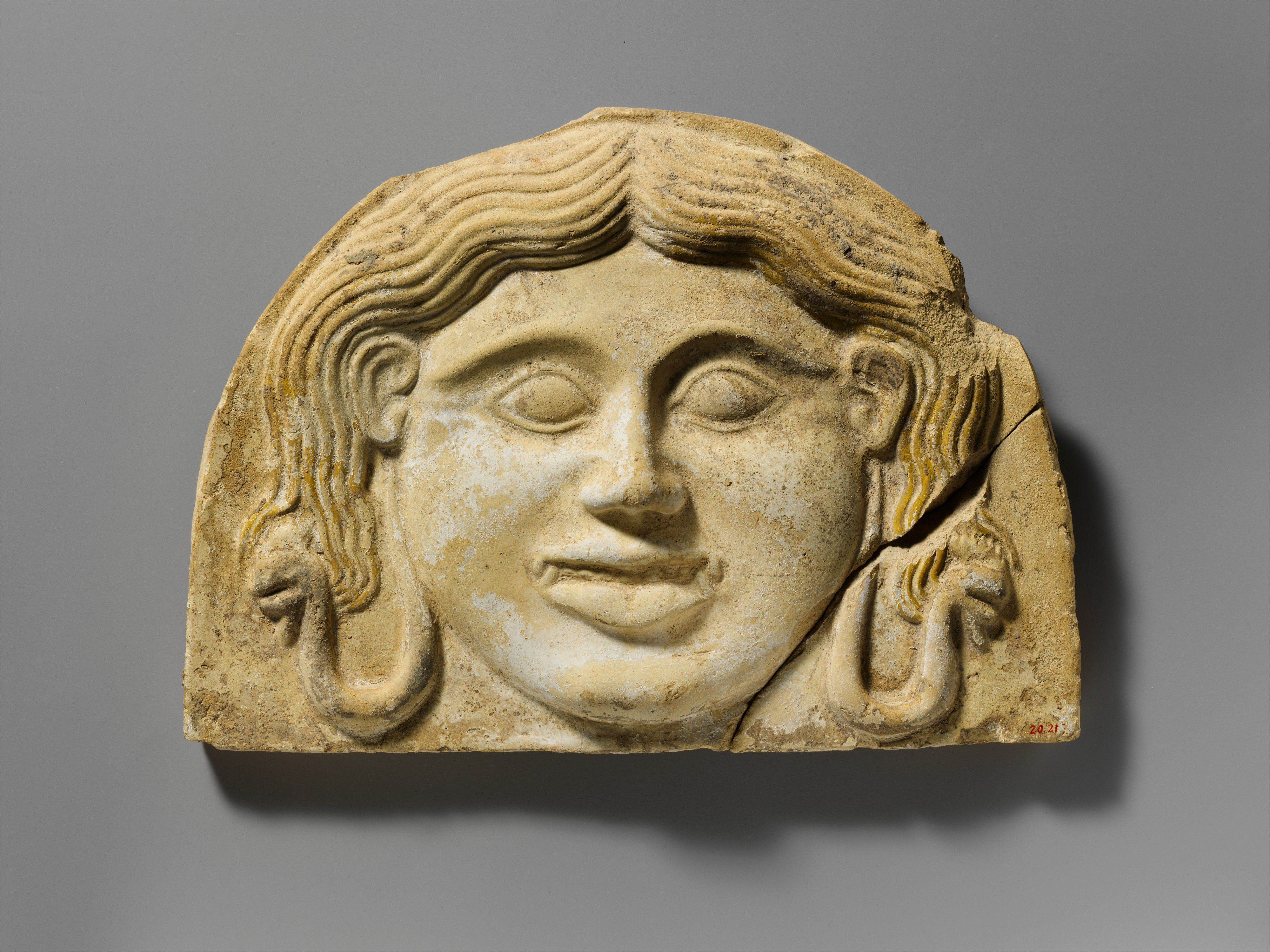 Classical Greek terracotta gorgoneion antefix (roof tile), 2nd half of 5th c BC