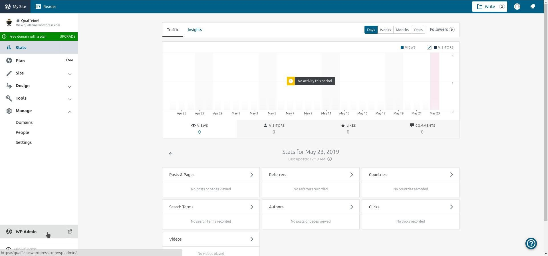 Your WordPress.com Dashboard for Your Site Contains a Link to the Admin Panel