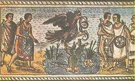 Tapestry of an Eagle holding a snake, from The Founding of Tenochtitlan.