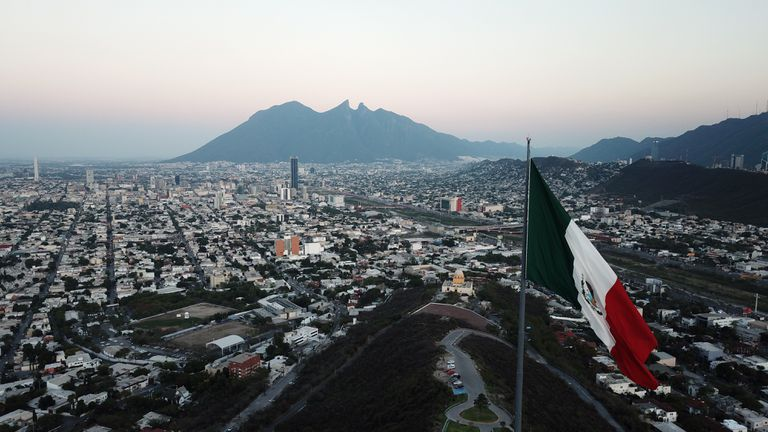 Mexican Flag view in Monterrey Mexico