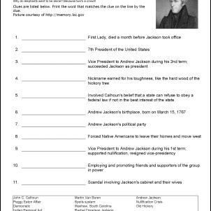 Andrew Jackson Vocabulary Worksheet