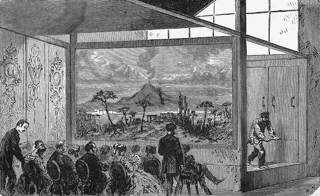 people watching Daguerre's diorama. Undated illustration.