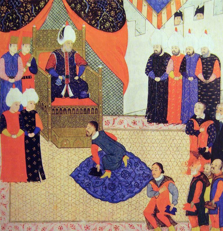 King John II Sigismund Zapolya of Hungary kneels before Suleiman the Magnificent of Turkey.