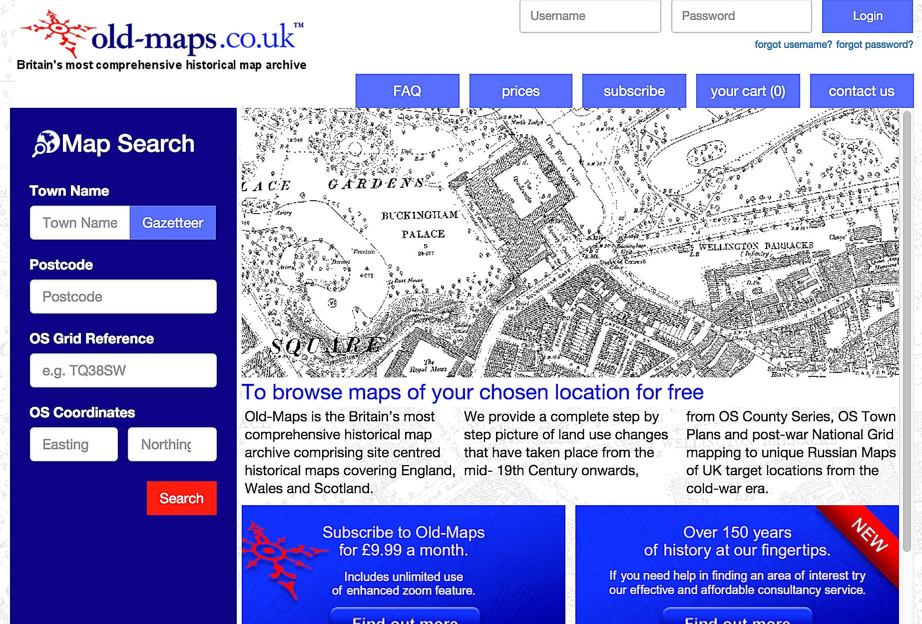 Old-Maps.co.uk contains over one million historical maps for mainland Britain from Ordnance Survey maps c. 1843 to c. 1996.