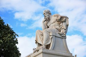 Statue of Socrates located in Athens, Greece
