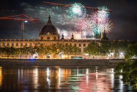 Bastille Day Fireworks in Lyon, France
