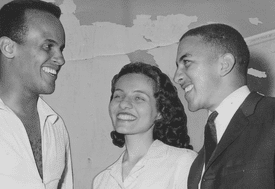 Activist and singer Harry Belafonte with civil rights leader Diane Nash and Freedom Rider Charles Jones.