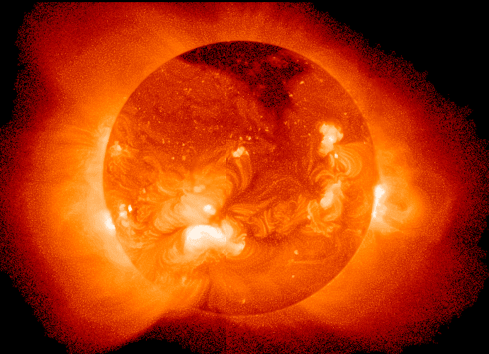This image shows the x-rays or x-radiation from the sun.