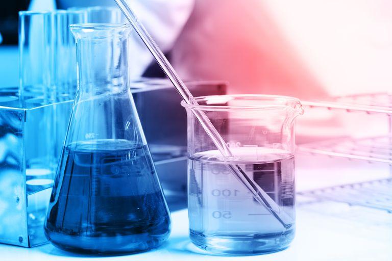 lab glassware with liquid