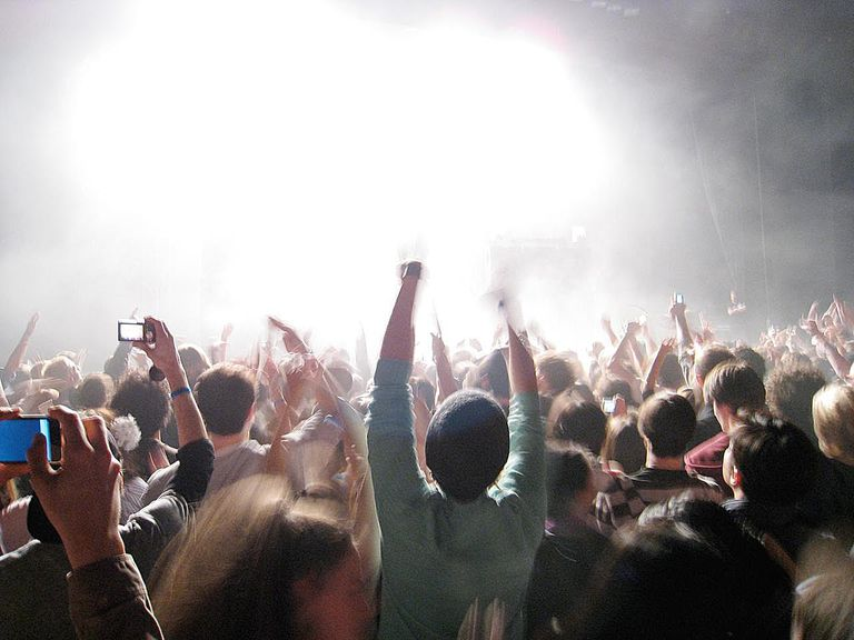 Audience view at a rock concert