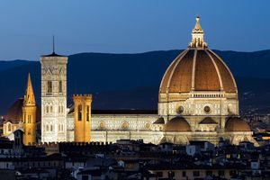 Il Duomo di Firenze, Brunelleschi's Dome, and the Bell Tower by Night in Florence, Italy