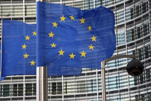 European Union flag waving.