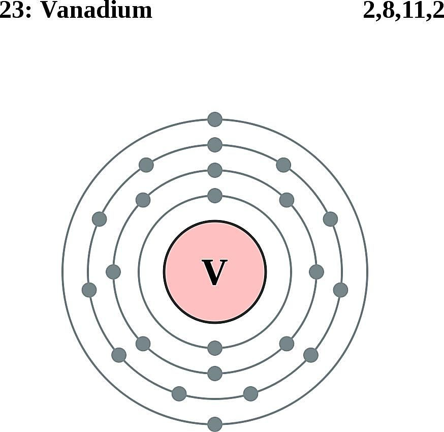 This diagram of a vanadium atom shows the electron shell.