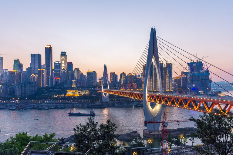 suspension bridge over river in Chongqing