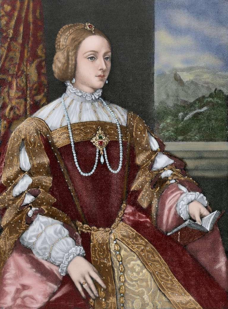 Isabella of Portugal (1503-1539). Engraving. Colored.