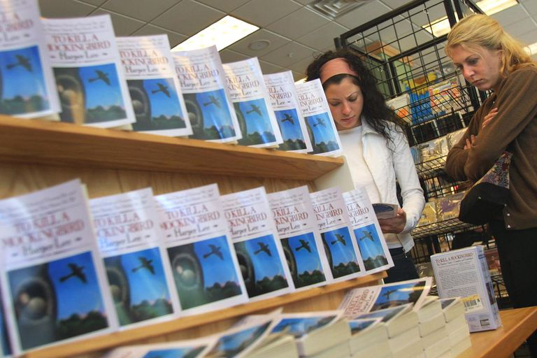 A display of 'To Kill A Mockingbird' in a bookstore