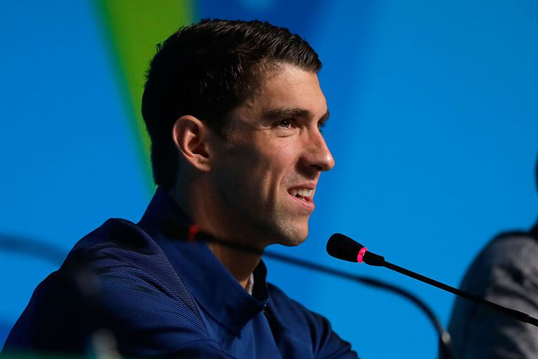Michael Phelps of the United States speaks during a press conference
