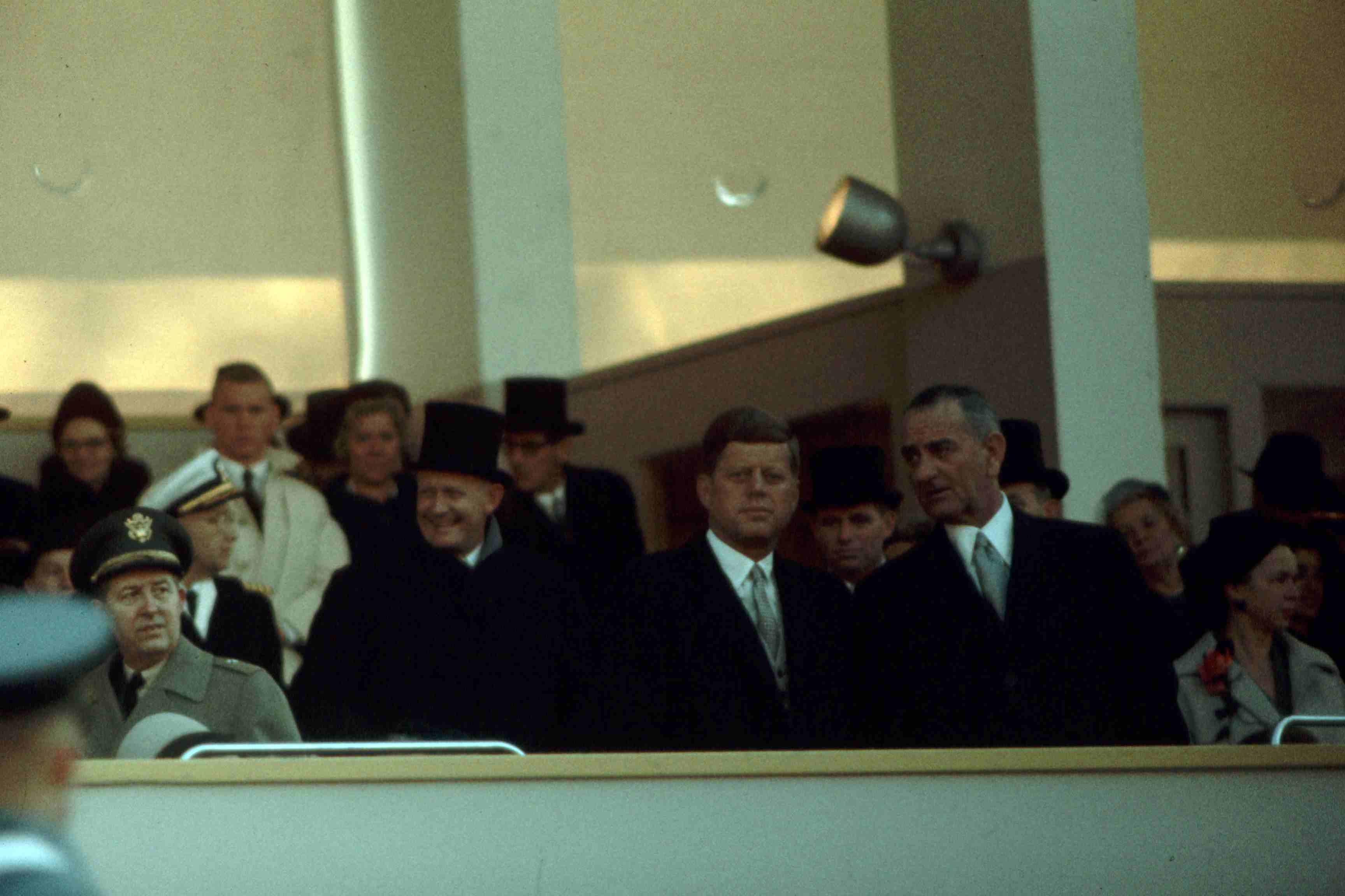 LBJ and JFK at the latter's 1961 inauguration, color photo.
