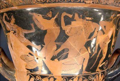 Chalice krater by Euphronios and Euxitheos. Dionysos and his thiasos.