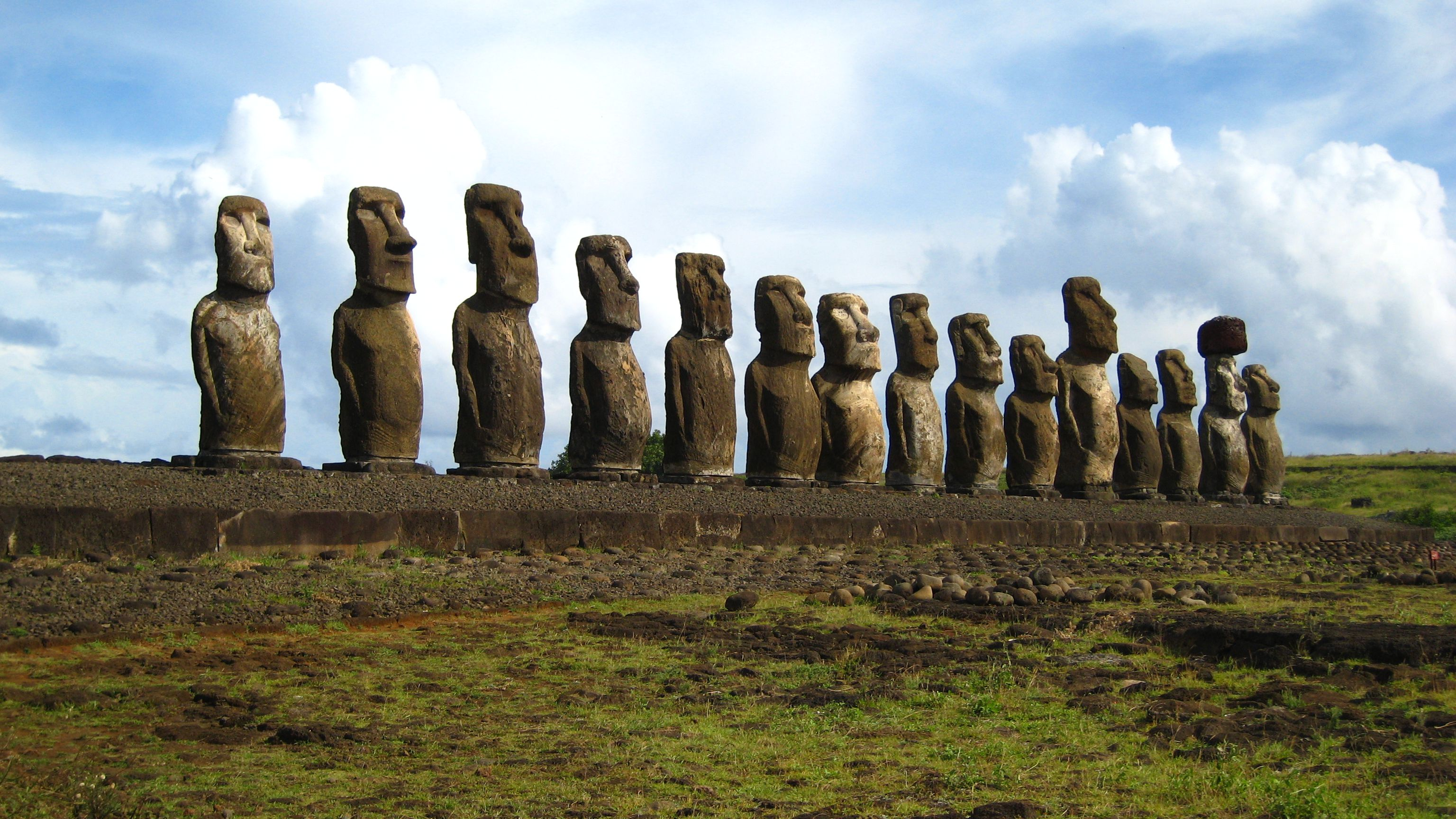 Giant stone statues, or Moai, on Easter Island