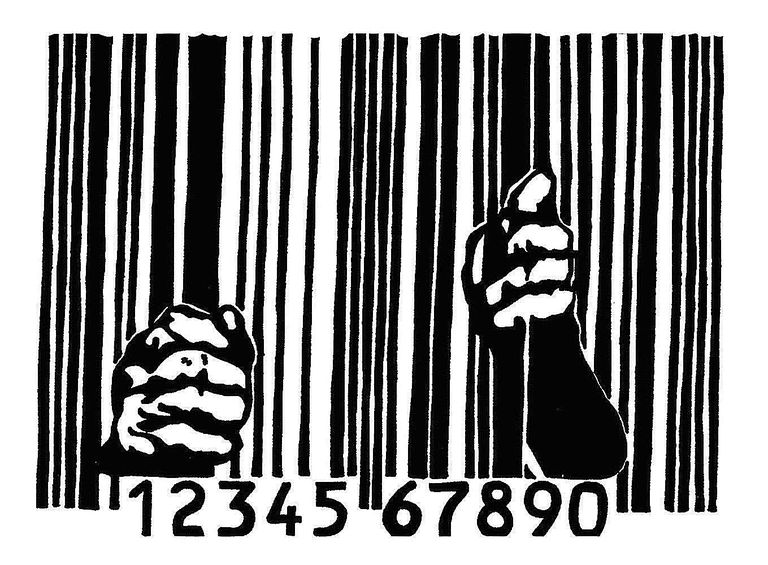Adbusters image featuring a man imprisoned by a barcode symbolizes the grip that consumerism has on our lives, and illustrates the practice of culture jamming.