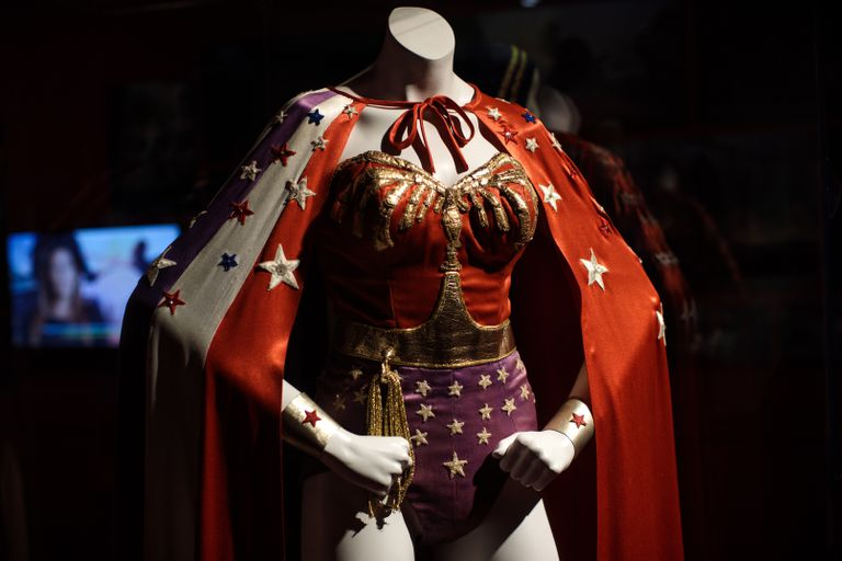Wonder woman costume on mannequin at DC Comics Exhibition.