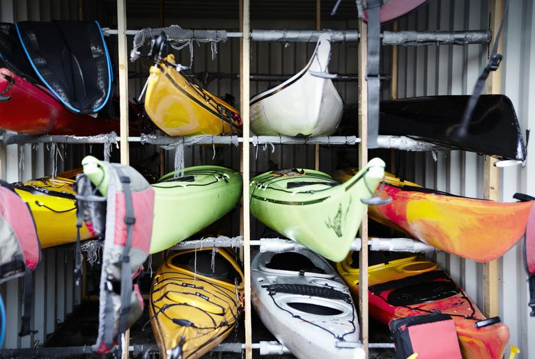 Kayaks in storage