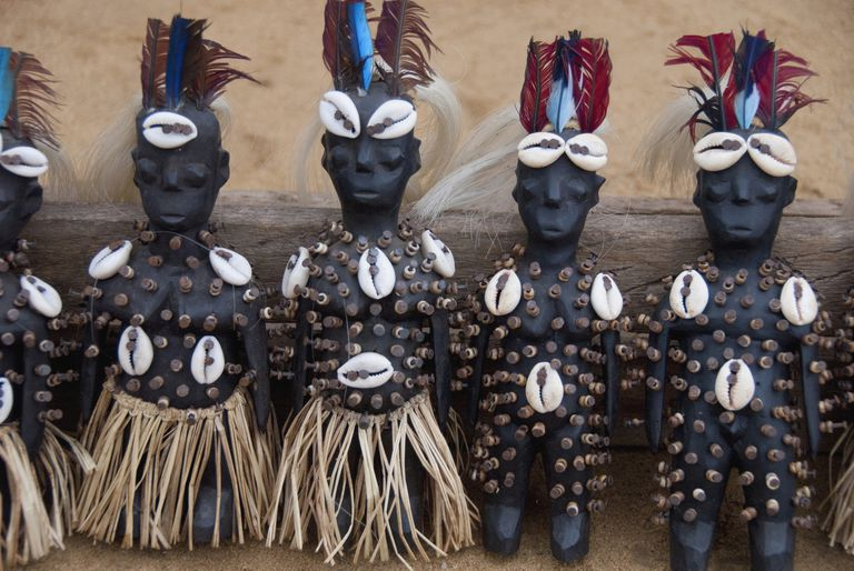 Voodoo dolls with sea shells and nails in Togo, Africa