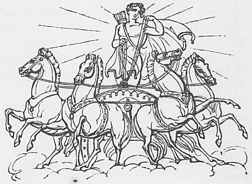 Ein Bild des Gottes Phoebus Apollo aus Keightleys Mythologie, 1852.