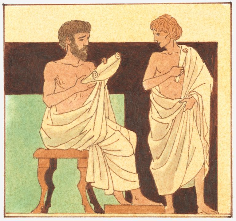 Illustration of Alexander the Great, being taught by Aristotle