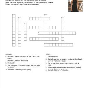 Michelle Obama Crossword Puzzle
