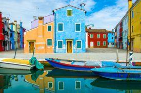 Colorful small island of Burano in the Venetian Lagoon