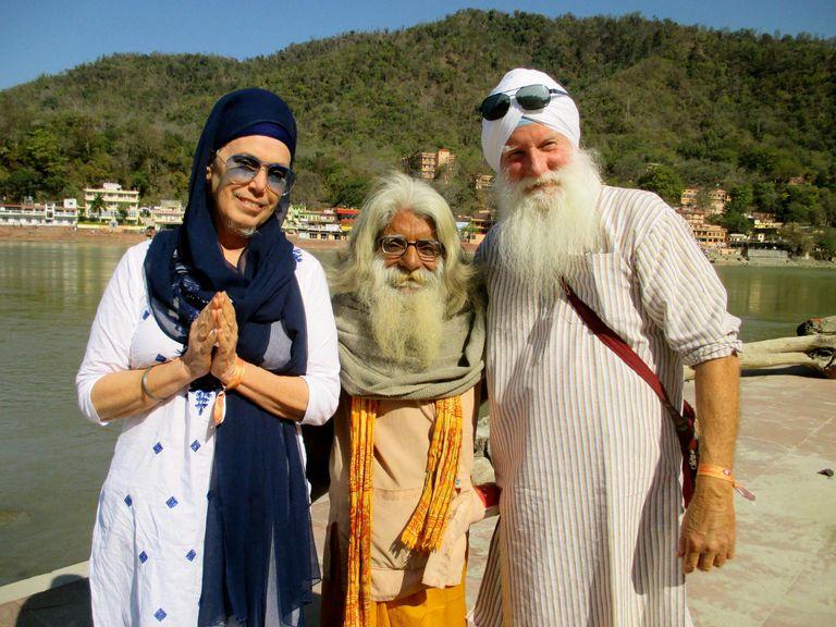 Sikh Couple With Hindu Holy Man