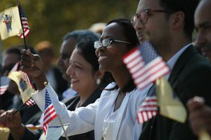 Immigrants Become US Citizens During Naturalization Ceremony At Liberty State Park