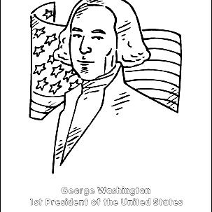 George Washington's head coloring page