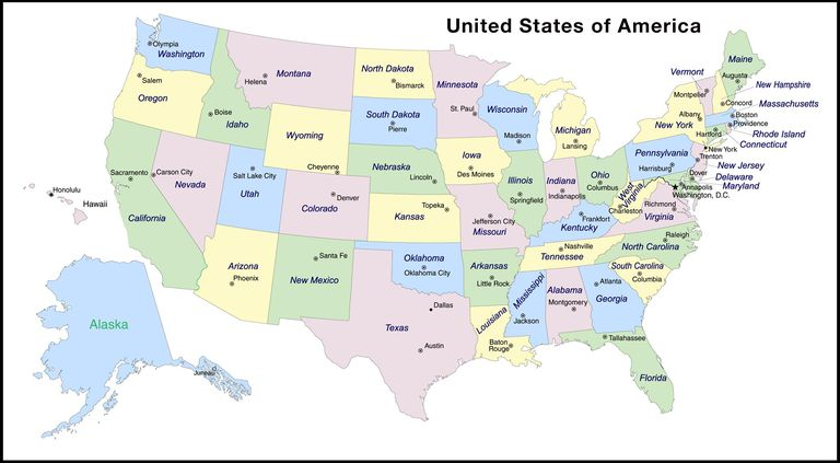 states and capitals clip art of a us map