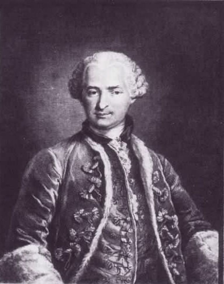 An engraving of the Count of St. Germain by Nicolas Thomas made in 1783, after a painting then owned by the Marquise d'Urfe and now apparently lost.[1] Contained at the Louvre in France[2]