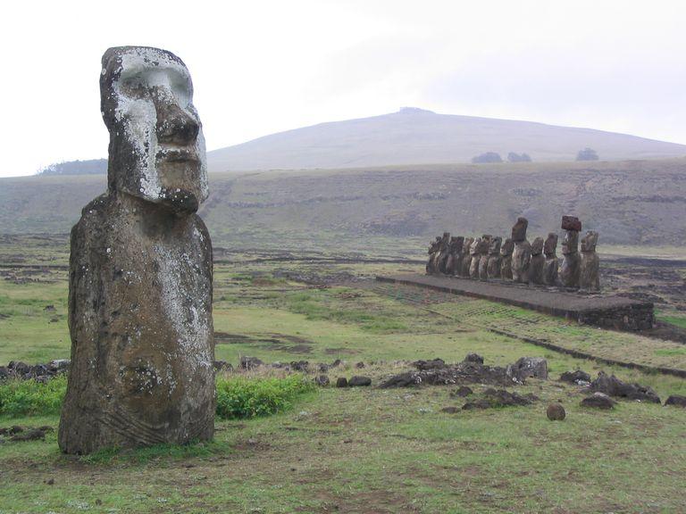 One and Fifteen Moai, Easter Island