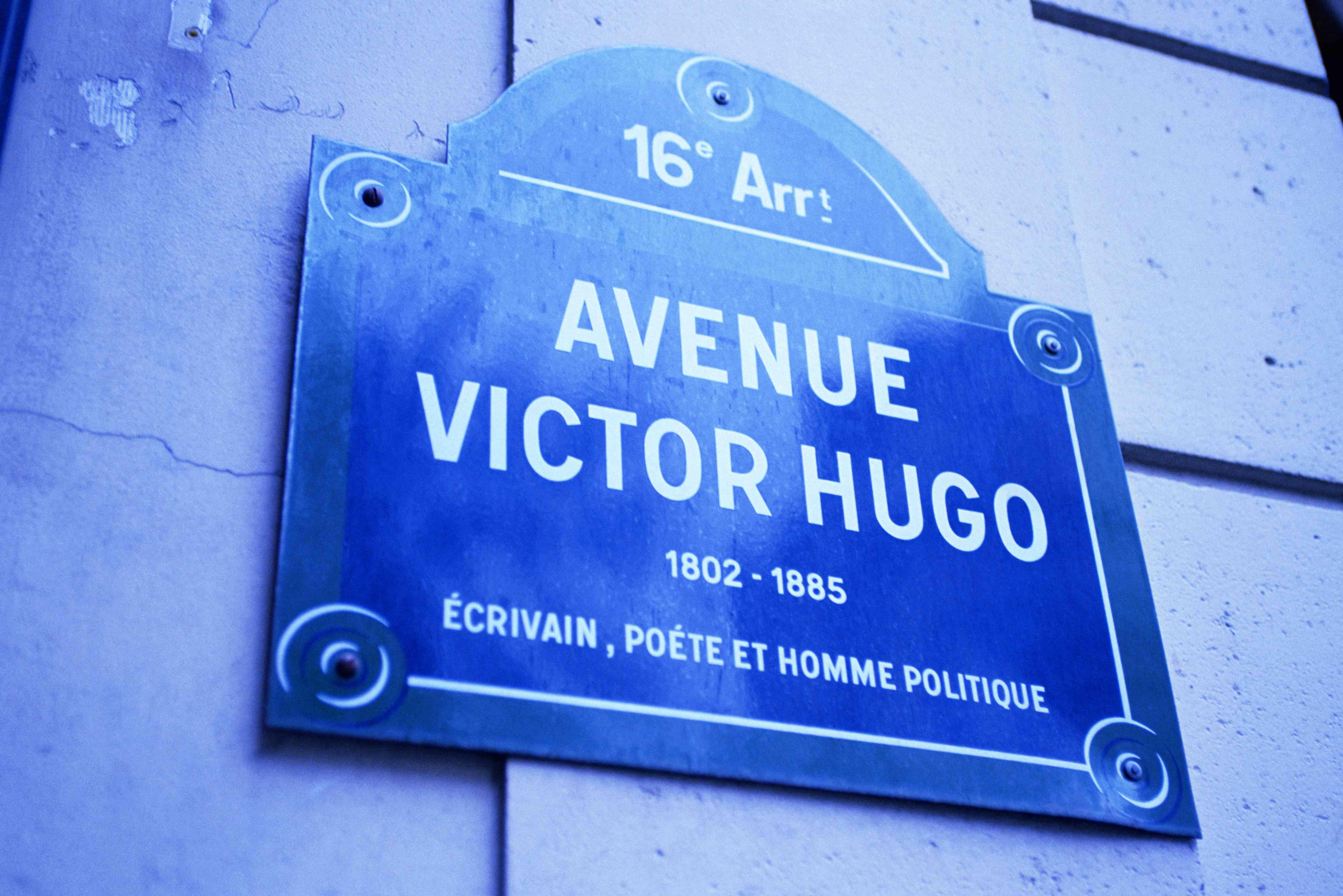 Street sign for Avenue Victor Hugo in Paris