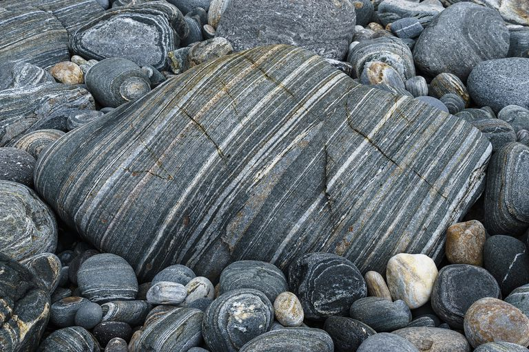 Close up of banded gneiss rocks.