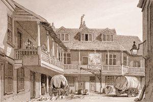 The Talbot (Taberd) Inn on Borough High Street, Southwark, London, 1827. Artist: John Chessell Buckler