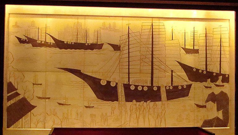 A modern depiction of Zheng He's treasure fleet, a marvel of 15th century Ming China.