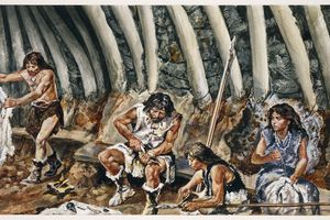 Close-up of a painting of paleolithic men