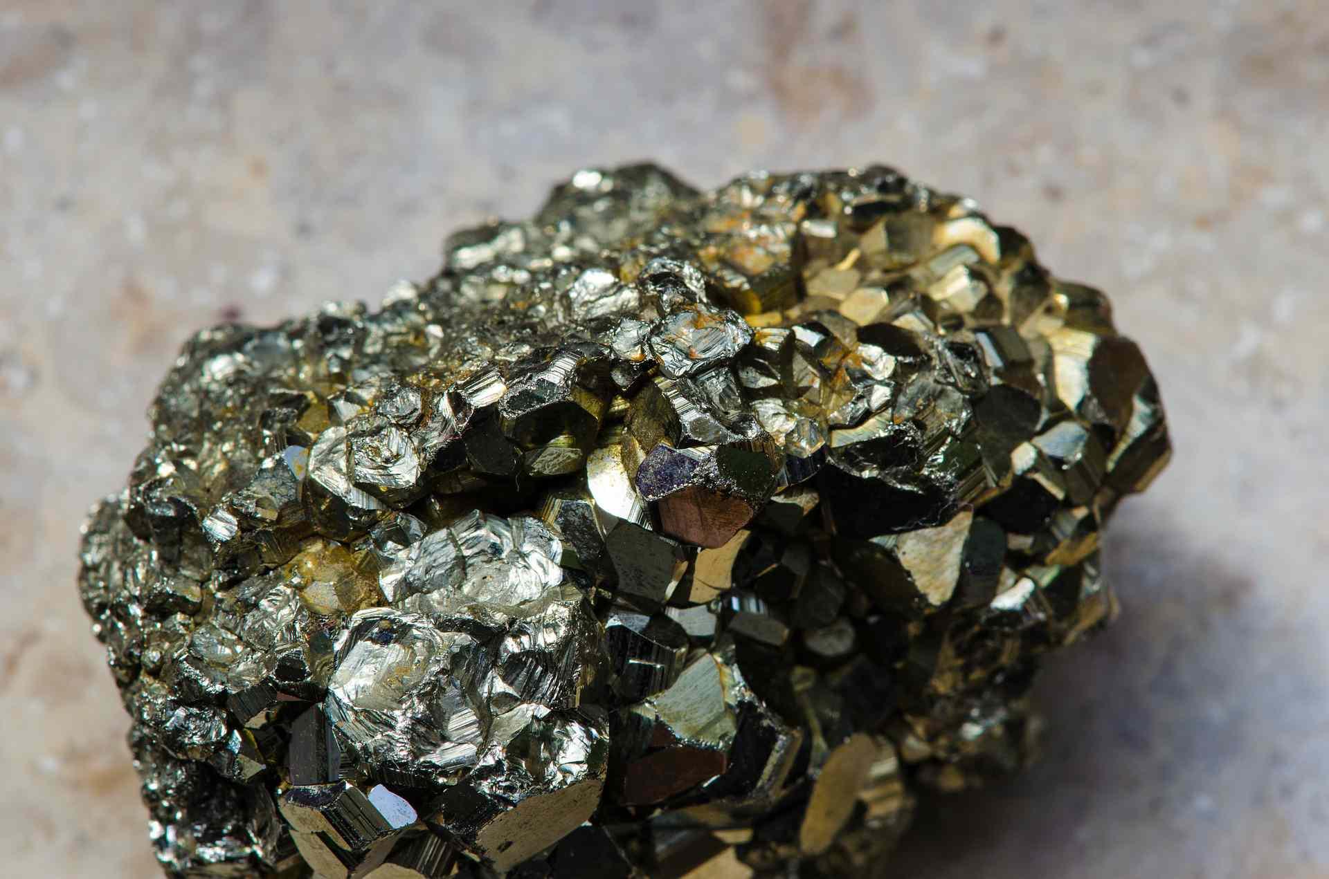 Shiny chunk of pyrite close up.