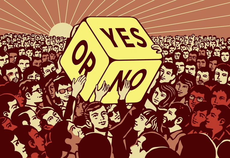 Cartoon of people passing large dice with yes or no choice