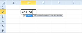 The Z.Test function in Excel